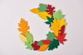 flat lay with colorful papercrafted foliage arranged on white background