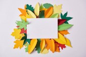 flat lay with blank paper and colorful handcrafted foliage arranged on white backdrop