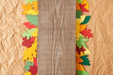 top view of wooden plank and colorful paper leaves arrangement on crumpled paper backdrop