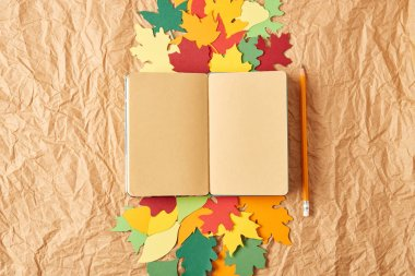 flat lay with blank notebook, pencil and colorful handcrafted paper leaves on crumpled paper background