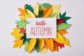 flat lay with paper with hello autumn inspiration and colorful handcrafted foliage arranged on white backdrop