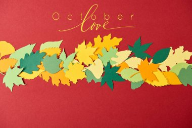 flat lay with colorful papercrafted leaves with