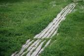 pěšina z dřevěných prken s trávou