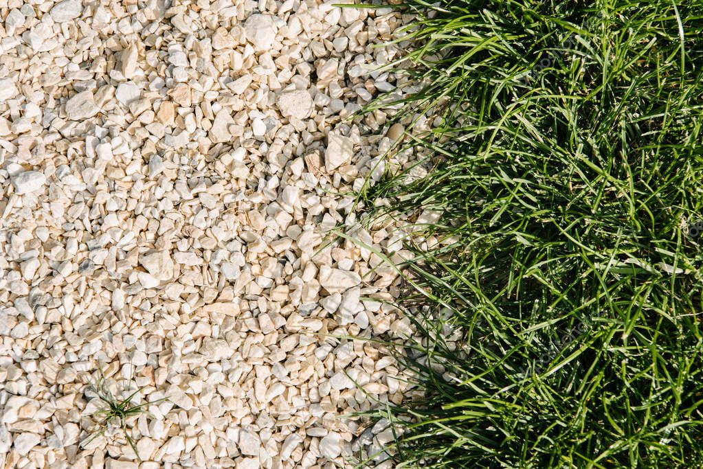 top view of green grass and pebble stones for background