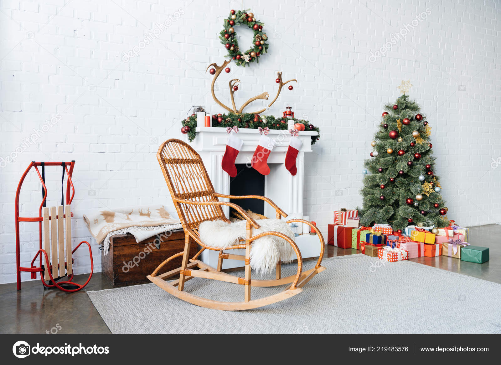 Decorated Room Rocking Chair Christmas Tree Presents Winter Holidays ...