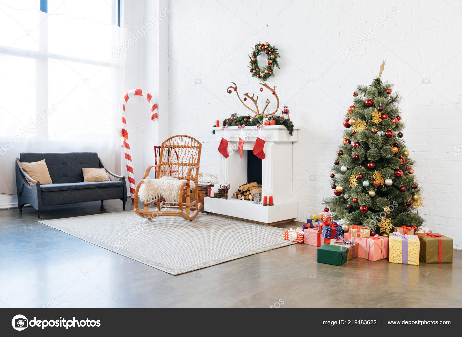 Stupendous Decorated Room Rocking Chair Christmas Tree Presents Winter Machost Co Dining Chair Design Ideas Machostcouk
