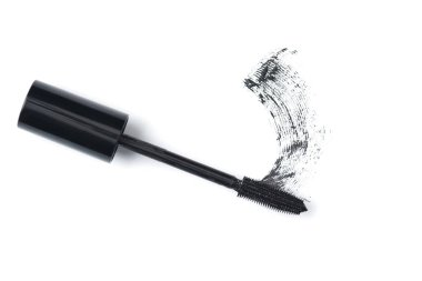 top view of black mascara brush on white background