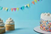 Ízletes cupcakes és torta a kék háttér sármány