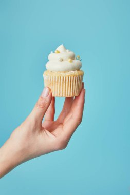 Partial view of woman holding tasty cupcake on blue background