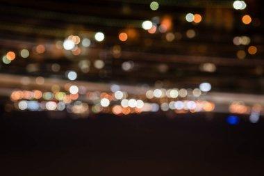 defocused colorful bokeh lights at night