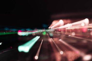long exposure of bright colorful illumination at night