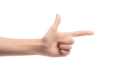 cropped view of woman pointing right with finger isolated on white