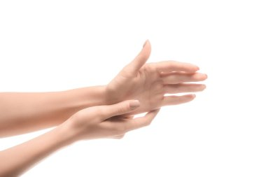 Cropped view of woman hands touching isolated on white stock vector