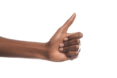 Cropped view of african american man showing thumb up sign isolated on white stock vector