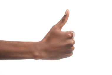 Partial view of african american man showing thumb up sign isolated on white stock vector