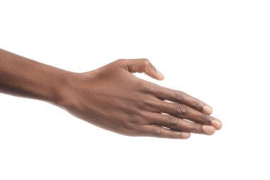 Cropped view of african american man hand isolated on white stock vector