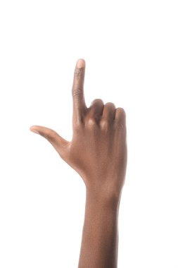cropped view of african american man showing letter L in deaf and dumb language isolated on white