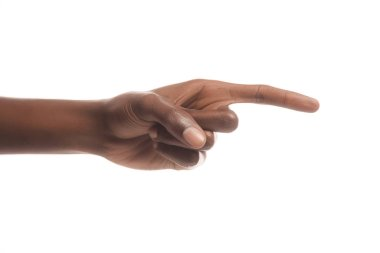 partial view of african american man pointing right with finger isolated on white