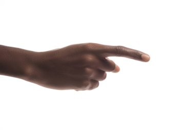 Cropped view of african american man pointing right with finger isolated on white stock vector