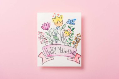 Happy mothers day greeting card with flowers on pink background stock vector