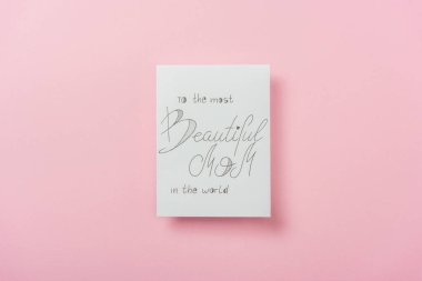 White greeting card for mothers day with