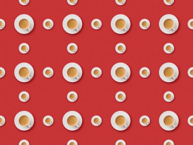 seamless background pattern with fresh coffee in cups and saucers on red background