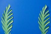 horní pohled na zelený papír vyjmený listí na modrém pozadí s prostorem pro kopírování