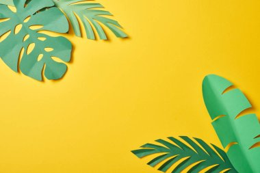Top view of paper cut green palm leaves on yellow background with copy space stock vector