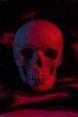 strašidelné lidské lebky v červeném světle, dekorace Halloweenu