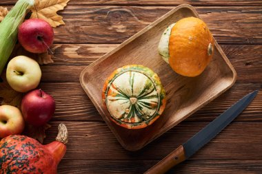 top view of brown rectangular dish with fresh pumpkins near knife and apples on wooden surface with dry leaves