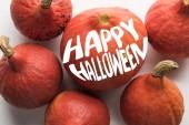 vrchní pohled na zralé dýně na bílém pozadí s veselým Halloween ilustrace