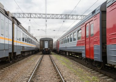 Russia, Moscow - October 21, 2018. Trains and cars are at an impasse