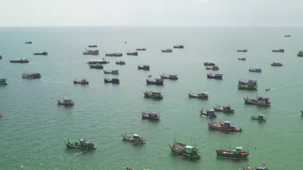Top view of Ships and Pleasure Boats Sail in the Gulf of Siam  View from  the Hill of