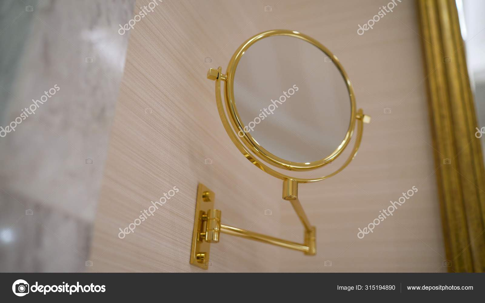 New Bathroom With Pattern Wallpaper Sparkle Floor Round Mirror With Decorative Golden Frame And Black Basin A Round Golden Mirror In The Bathroom Stock Photo C Rusrussid2 315194890