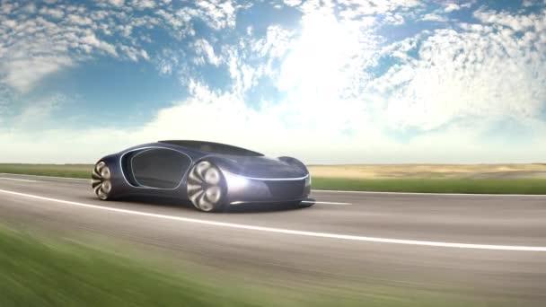 Elektromos autó az autópályán a homokos sivatagban. A jövő autójának koncepciója. 4k animáció.