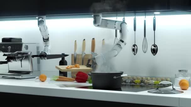 Hand The Robot připravuje večeři Robot Hand krájí označení kapky to do vroucí vody