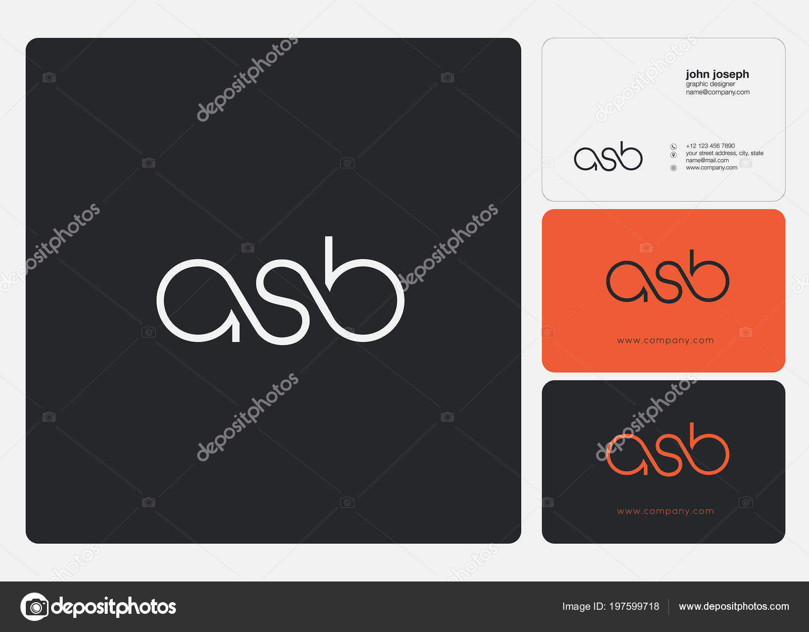 Letters Logo Asb Template Business Card — Stock Vector