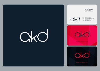 Letters logo Akd, template for business card