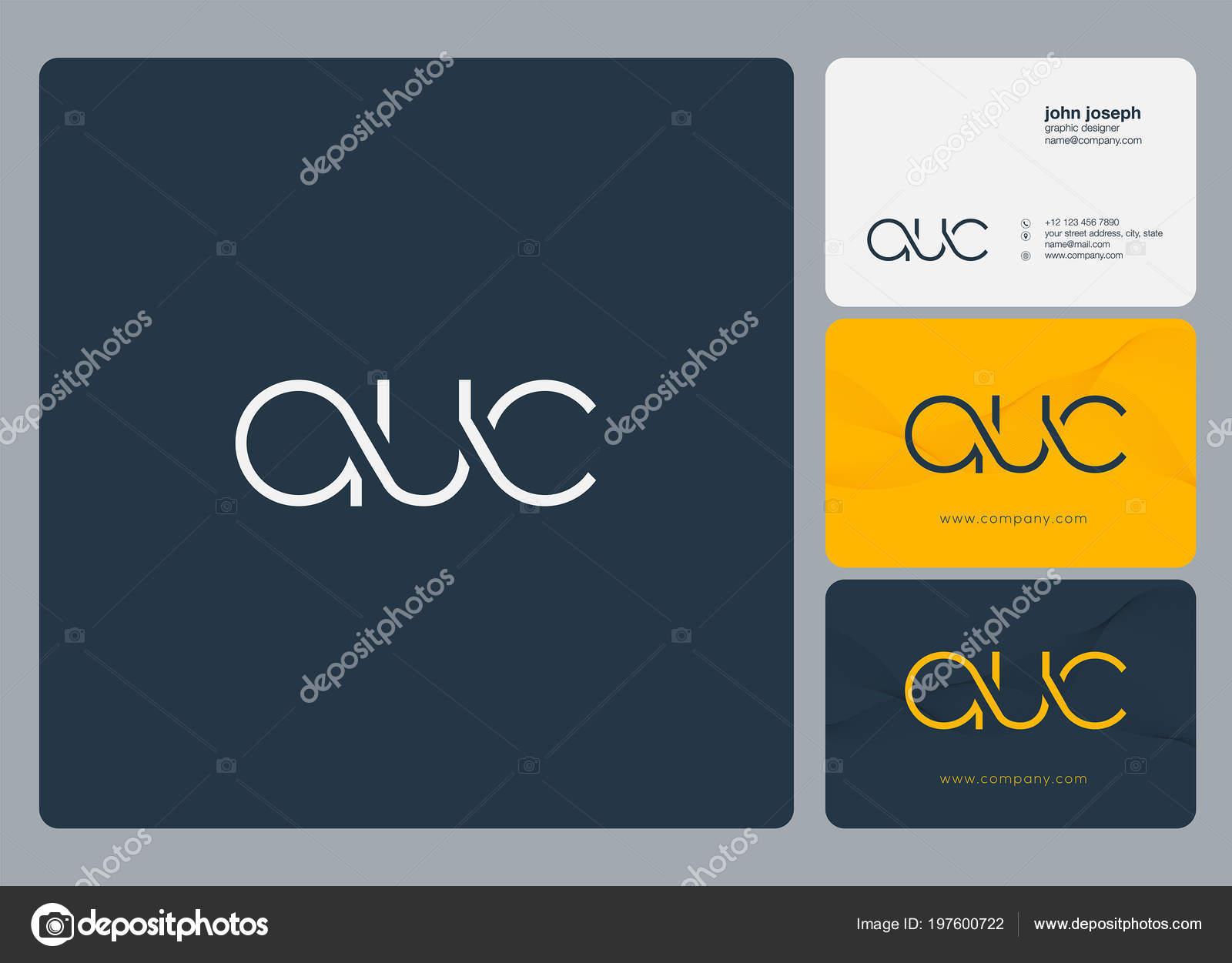 Letters Logo Auc Template Business Card Stock Vector Ajayandzyn