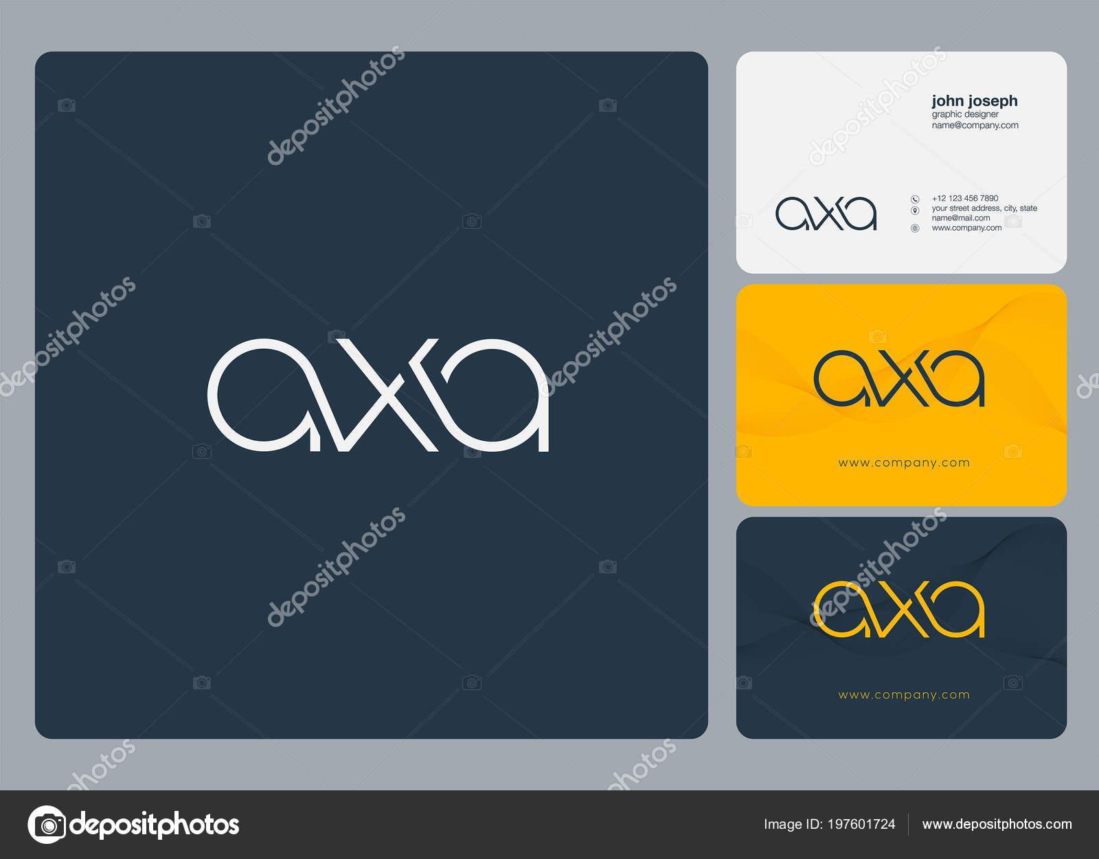 Lettres Logo Axa Modele Pour Carte Visite Image Vectorielle