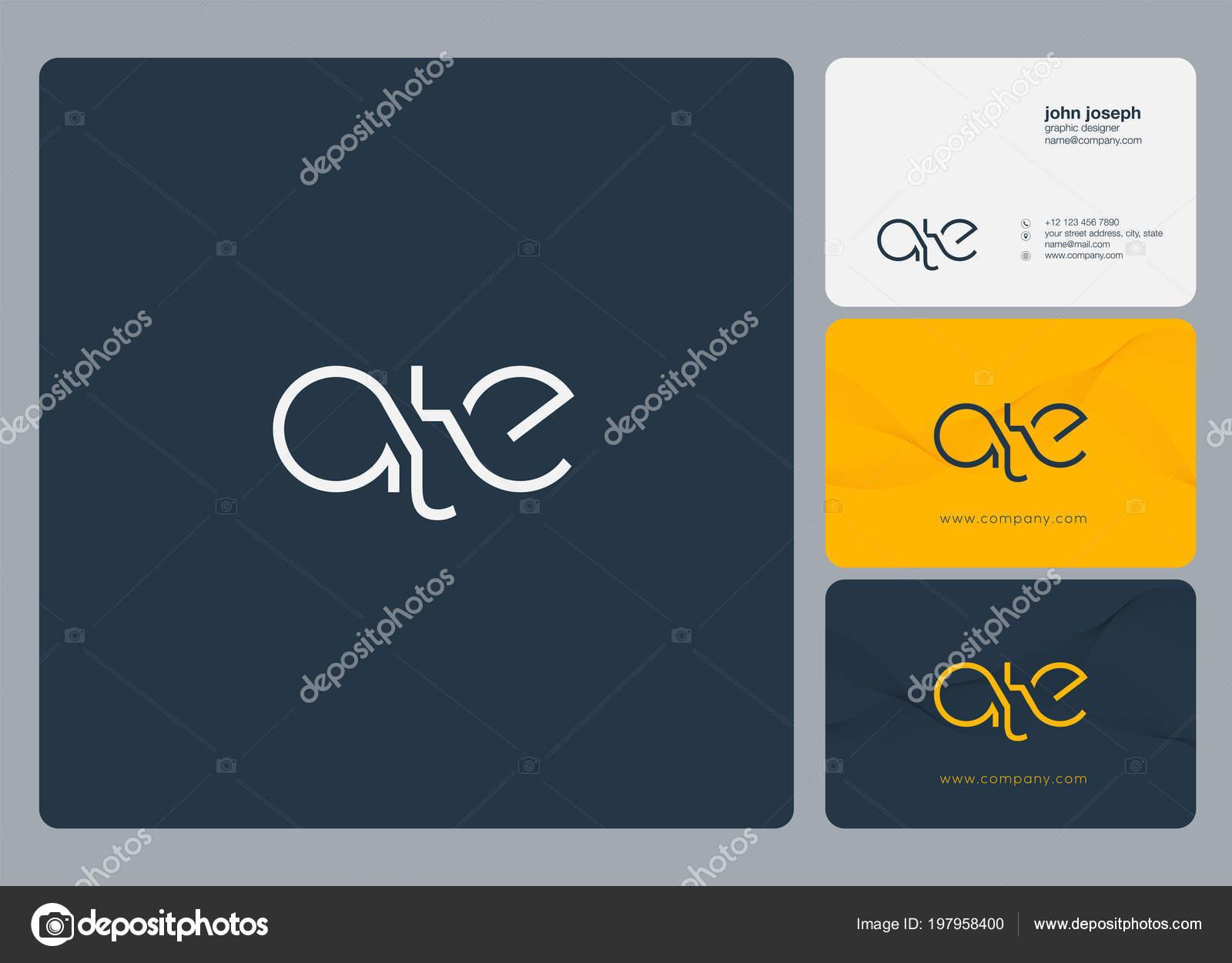 Lettres Logo Ate Modle Pour Carte Visite Image Vectorielle