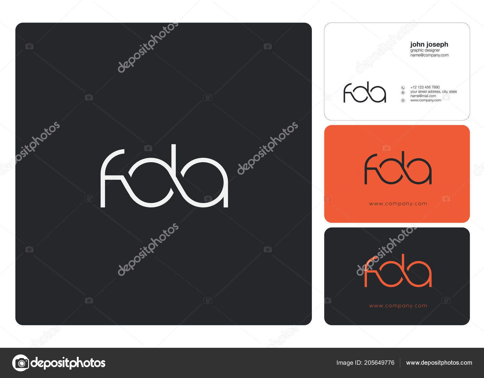 letters logo fda template business banner stock vector