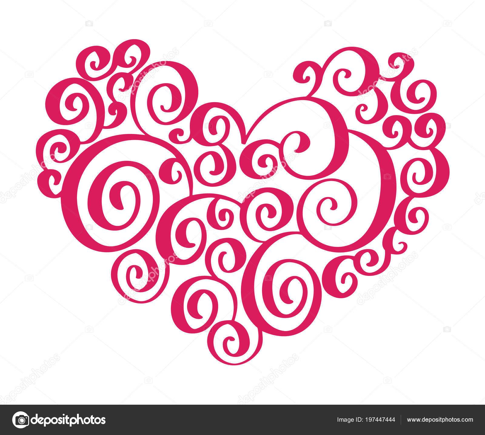 Corazón dibujado a mano amor elementos diseñador de caligrafía de ...