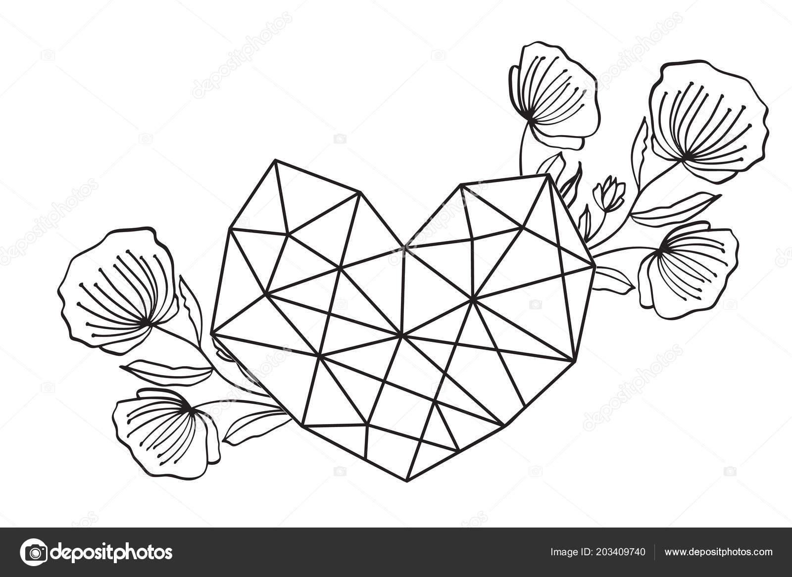 Grafik Cicek Geometri Ask Kalpli Cerceve Vektor Yaprak Ve Sevimli