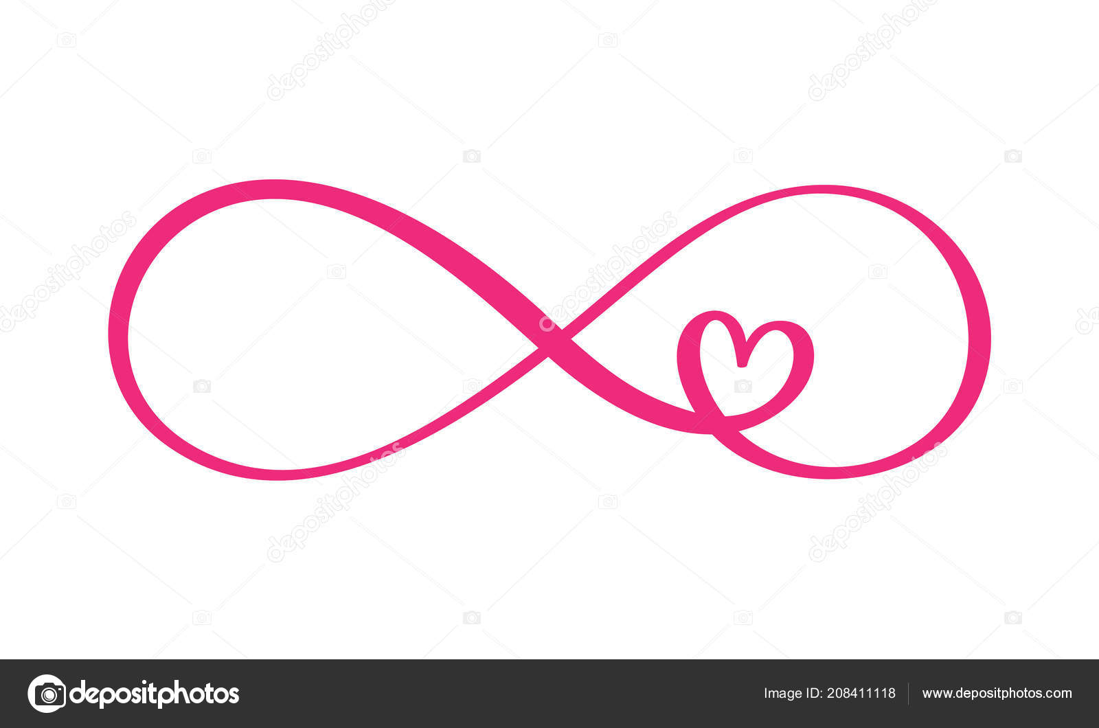 Love Word In The Sign Of Infinity Sign On Postcard To Valentine S Day