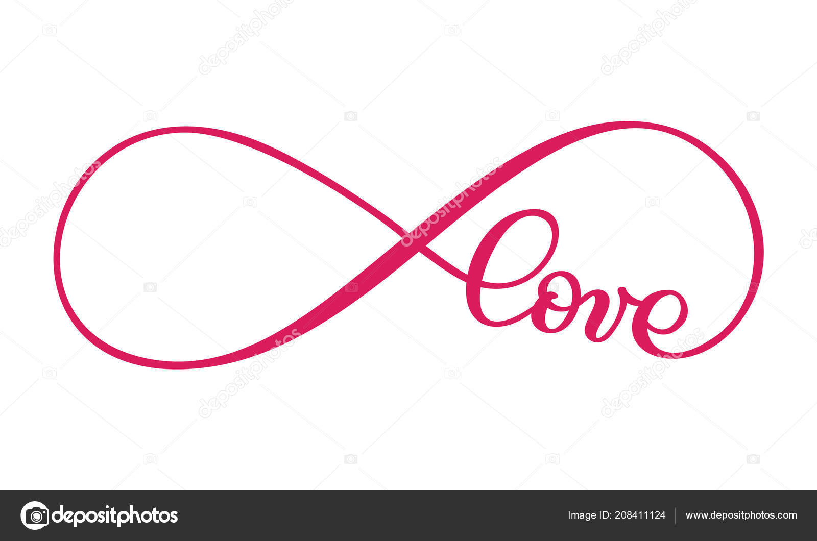 Love The Sign.Love Word In The Sign Of Infinity Sign On Postcard To
