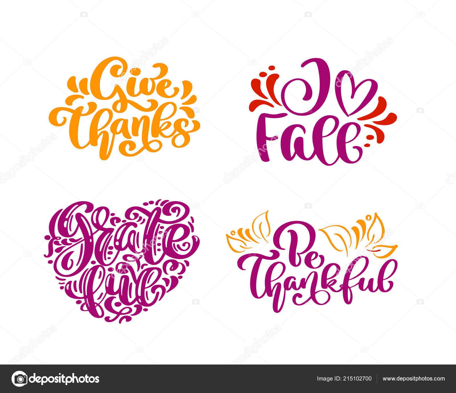 Set De Caligrafia Frases Gracias Dar Amor Caida Agradecida Ser