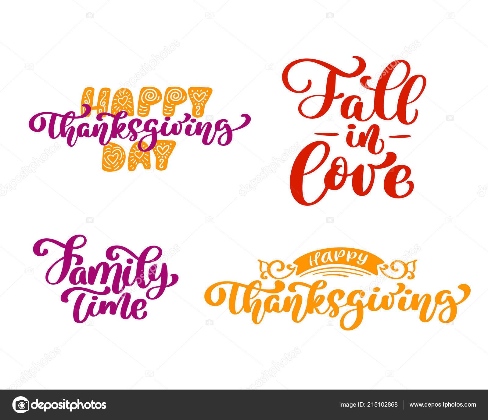 Zestaw Wyrażeń Kaligrafia Happy Thanksgiving Day Upadek Miłość