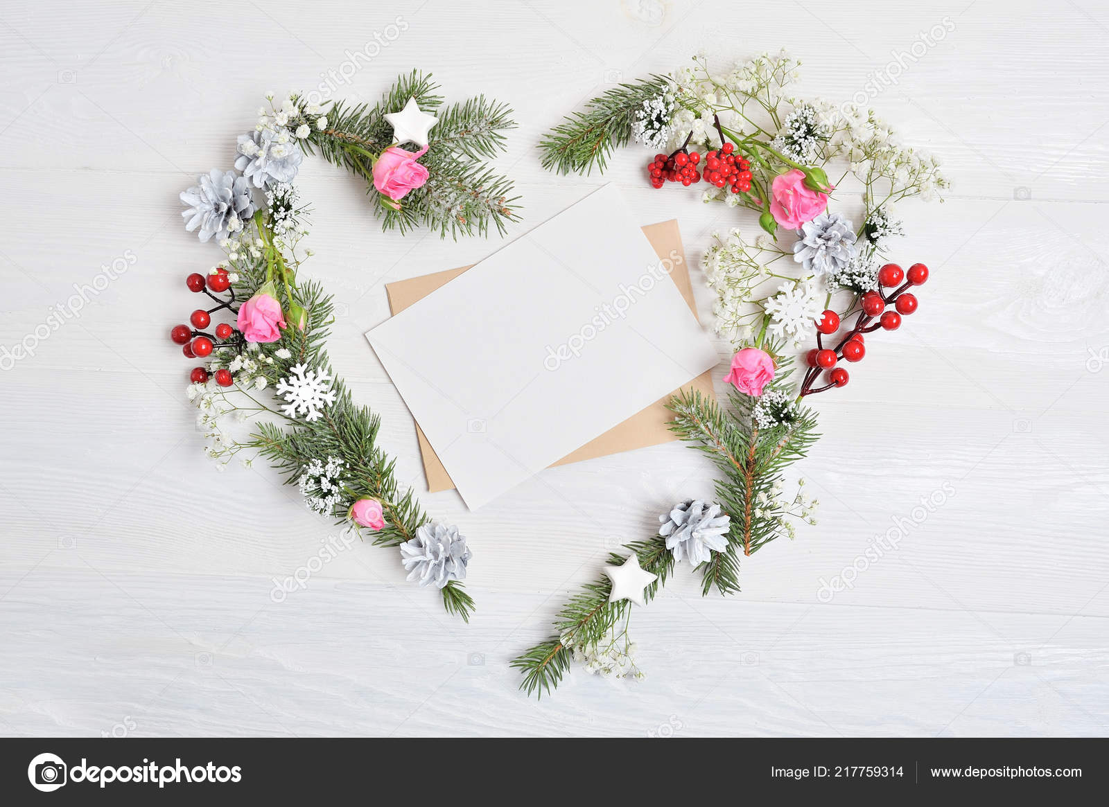 Mockup Of Christmas Wreath In Form Of Heart With Sheet Of Paper