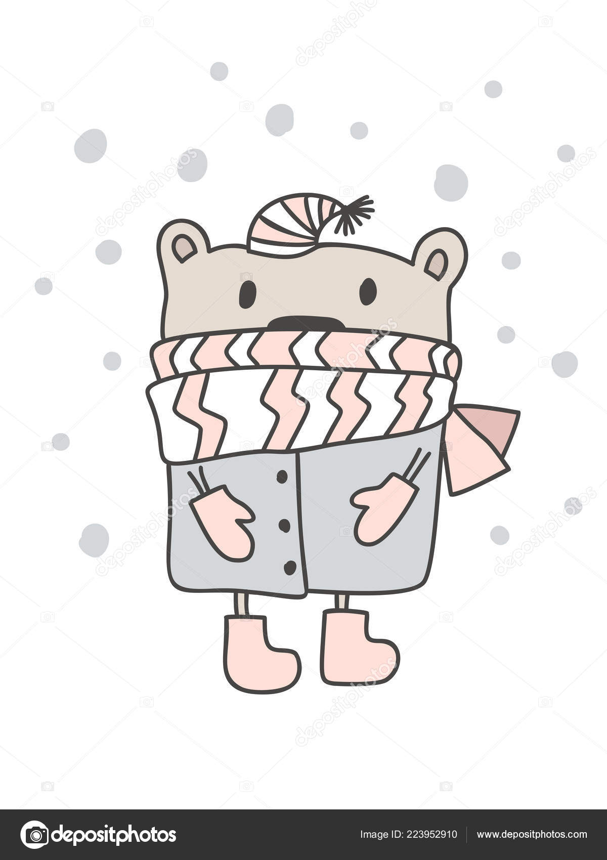 Christmas Scandinavian Style Design Hand Drawn Vector Illustration Of A Cute Funny Winter Bear In A Muffler Going For A Walk Isolated Objects On White Background Concept For Kids Apparel Nursery